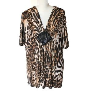 Lane Bryant animal print top blouse Plus 18 20